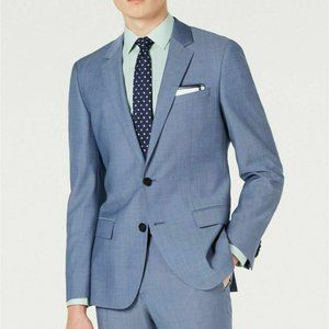 Hugo Boss Modern-Fit Blue Mini-Check Suit Jacket